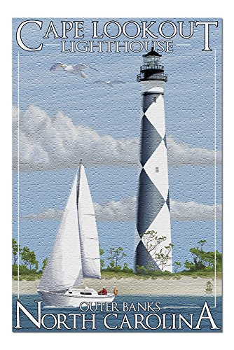 Outer Banks, North Carolina - Cape Lookout Lighthouse (20x30 Premium 1000 Piece Jigsaw Puzzle, Made in USA!)