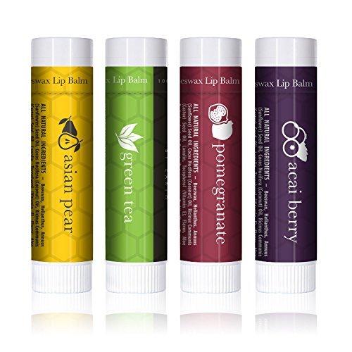 Lippenbalsam - Einzigartig erfrischende Düfte (4-er Packung) - Lippenpflege die trockene Lippen repariert und Feuchtigkeit verleiht. 100% aus natürlichem Bienenwachs Lippenbalsam. Hergestellt in USA von Beauty by Earth