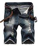 NITAGUT Men's Fashion Ripped Short Jeans Slim Fit Denim Short Dark Blue-US 38