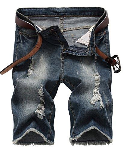 NITAGUT Men's Fashion Ripped Short Jeans Slim Fit Denim Short Dark Blue-US 36 by NITAGUT