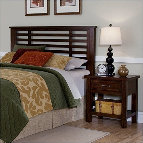 Bowery Hill King California King Headboard and Nightstand in Chestnut