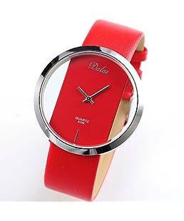 OYang Red Leather Transparent Dial Fashion Lady Girl Wrist Quartz Watch