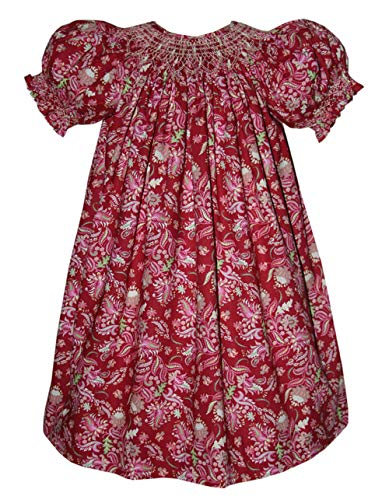 (Carouselwear Holiday Girls Red Dress Hand Smocked Bishop with Paisley Print)