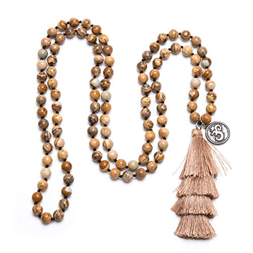 Bivei 108 Mala Prayer Beads Bracelet Hand Knotted Gemstone Beaded OM Symbol Charm Long Tassel Necklace Yoga Meditation Jewelry(Brown Picture Jasper)