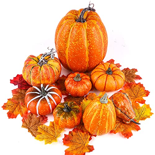BigOtters Fake Pumpkins, 8PCS Decorative Pumpkins Artificial Pumpkins with Pine Cone and Maple Leaves for Halloween Fall Garland Thanksgiving Table Decorations