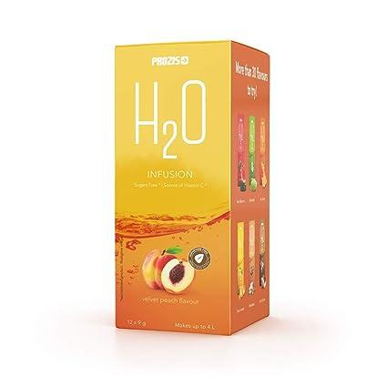 Prozis H2O Infusion 12x9g - Sobre de Bebida de Melecotón Aterciopelado para la Hidratación Corporal - Repleto de Vitamina C - Deliciosa, Saludable y ...