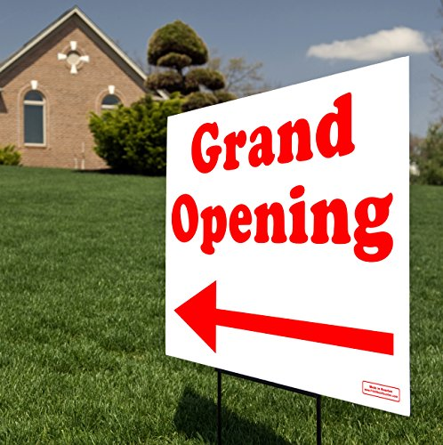 Double Sign Arrow (Grand Opening Directional Arrow - Curbside Yard Sign Lawn Signage - Printed Double Side - Large 24