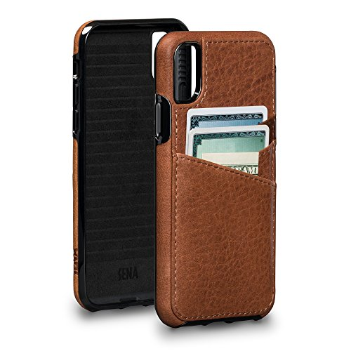 - Sena Bence Lugano Wallet - Genuine Leather Drop Safe Protection Card Holder Case For Iphone X Xs - Saddle