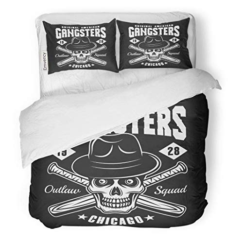 MIGAGA Decor Duvet Cover Set King Size Gangster Skull in Fedora Hat and Two Crossed Baseball 3 Piece Brushed Microfiber Fabric Print Bedding Set Cover (Stitch Fedora)
