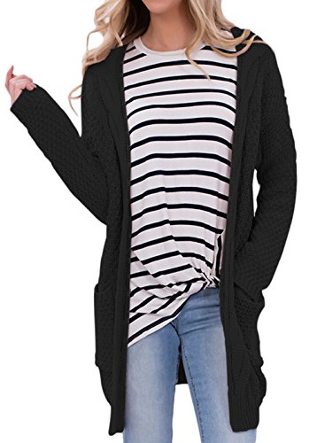 Tiksawon Womens Sexy Knitted Long Front Pocket Cardigan Sweater M (Knitted Cardigan)