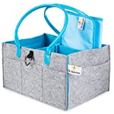 Baby Diaper Caddy-Nursery Storage Bin Organizer for All Essentials|Grey & Blue, Boy Girl Unisex Color|Must-haves Registry Shower Gift|Portable Lightweight, Thick & Sturdy Felt|Waterproof Changing Pad