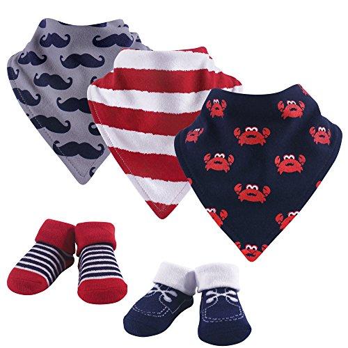 Hudson Baby Baby Bandana Bib & Socks Set, 5 Piece, Crab 0-9 Months