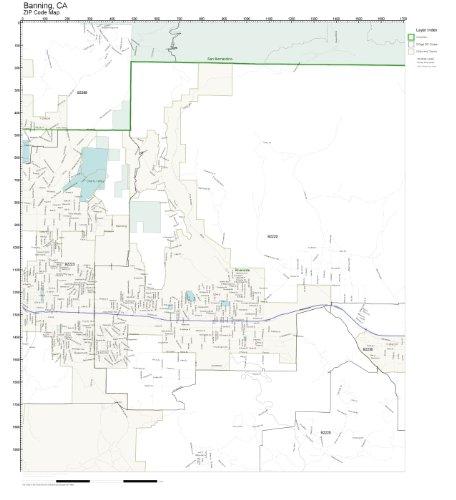 ZIP Code Wall Map of Banning, CA ZIP Code Map Laminated -