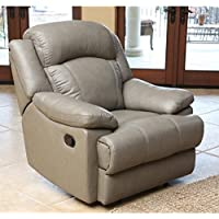 Abbyson Living Warwick Leather Recliner in Grey