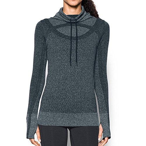 Under Armour Nylon Pullover (Under Armour Women's Thread Borne Seamless Heathered Funnel Neck Top, Large, Anthracite/Metallic Silver)