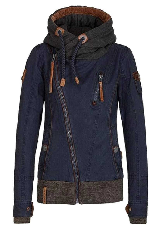 Denim bluee omniscient Women's Casual Oblique Zipper Funnel Neck Full Zip Hooded Sweatshirt