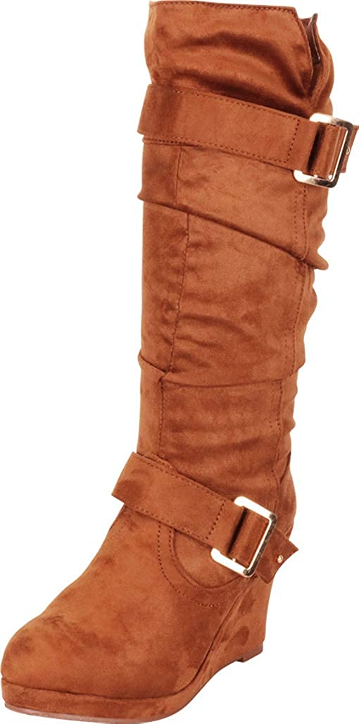 Tan Imsu Cambridge Select Women's Strappy Chunky Wedge Mid-Calf Boot