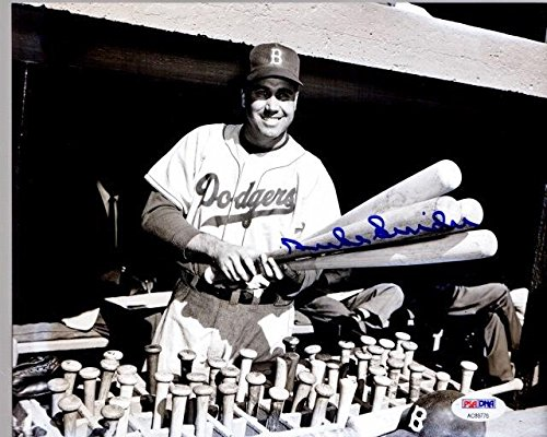 Signed Duke Snider Photograph - 8x10 inch Certificate of Authenticity COA) - Deceased Hall of Famer - PSA/DNA Certified ()