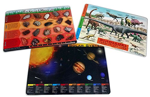 Painless Learning 3 Placemat Bundle: Dinosaurs, Solar System, Rocks and - Dinosaur Placemat