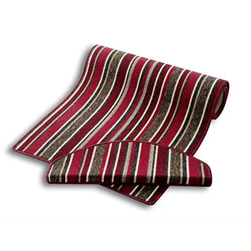 Läufer | rot gestreift | Qualitätsprodukt aus Deutschland | kombinierbar mit Stufenmatten | 4 Breiten und 27 Längen (100 x 550cm)