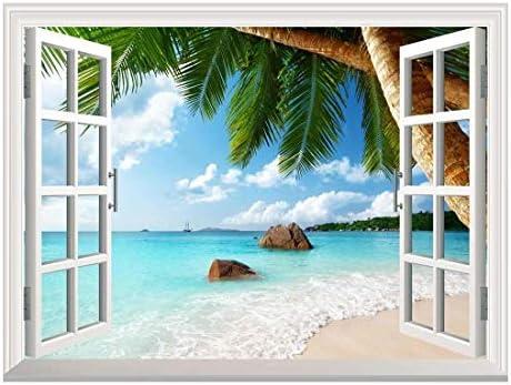 Removable Wall Sticker Wall Mural ANSE Lazio Beach on Praslin Island in Seychelles Creative Window View Wall Decor
