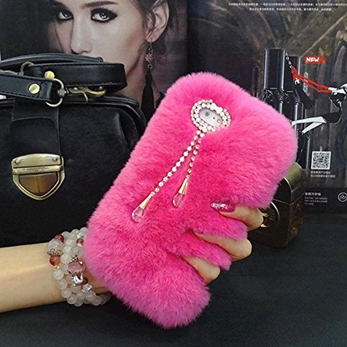 iPhone 7plus Case - LU2000 Beaver Rabbit Furry Case with Double [Pendant Series] Tassels Luxury Fluff Fur Bling Crystals Trim Phone Back Cover for Apple iPhone 7+ / 7 Plus - Rose Red