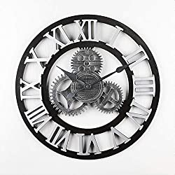 Vintage Clock European Retro Vintage Handmade 3D Decorative Gear Wooden Vintage Wall Clock, 19.6-Inch Roman Numeral Noiseless Gear Wall Clock / Kitchen Living Room Home Hotel Decoration