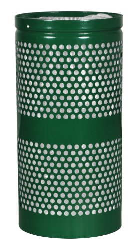 (Ex-Cell Kaiser WR-10R HGR Landscape Series Steel Perforated Trash Receptacle, 10 Gallon Capacity, 11-1/2