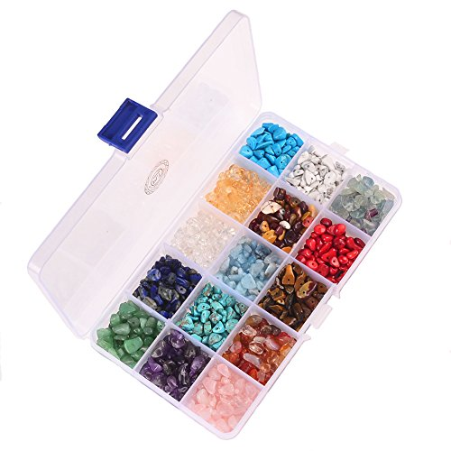 PLTbeads Natural Chips Stone Irregular 7-8mm Gemstone Beads 15 Multicolor With Box Set Value Pack For Loose Beads Jewelry Making