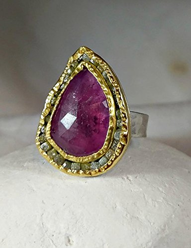 Pink sapphire and raw diamond ring