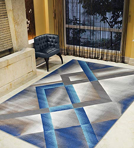 Kashan Navy Area Rug - Khaki/Navy/Silver/Blue-Faded, Contemporary Distressed Area Rug Diamond/Trellis/Geometric Pattern Area Rug Abstract,Kashan Rug