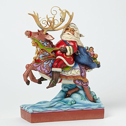 Jim Shore for Enesco Heartwood Creek Santa Riding Reindeer Figurine, 9-Inch
