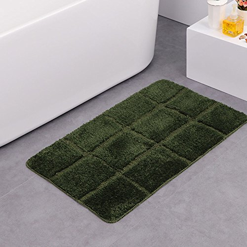 Boncou Eight Squares Serie Microfiber Bath Rugs Non Slip Bath Mats Absorbent Bathroom Rugs Machine Washable(18