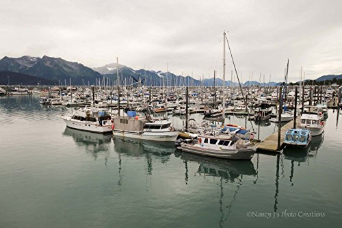 Nautical Decor Unframed Boat Marina Photo Sailboat Print Alaska Mountains Wall Art Man Cave Decor Fishing Gift Ocean Port Photography Green Gray 5x7 8x10 8x12 11x14 12x18 16x20 16x24 20x30 24x36 by Nancy J's Photo Creations