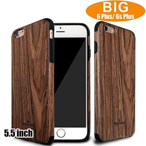 NeWisdom iPhone 6 Plus 6S Plus Wood Case 5.5 inch Unique Design Slim Non Slip Eye Catching Cover Sandalwood
