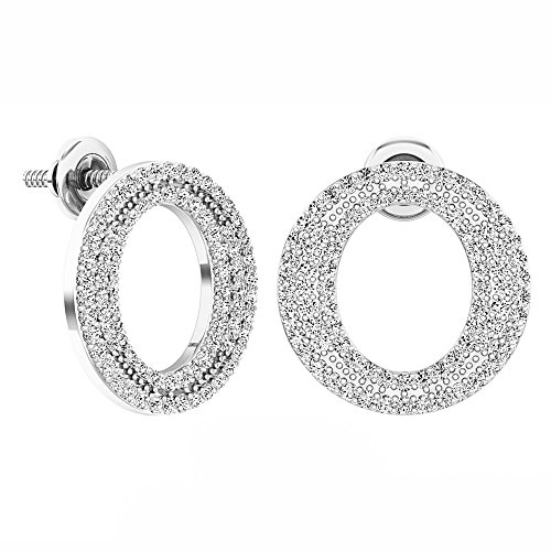 Dazzlingrock Collection 0.70 Carat (ctw) Round Diamond Ladies Circle Shape Fashion Stud Earrings 3/4 CT, Sterling Silver
