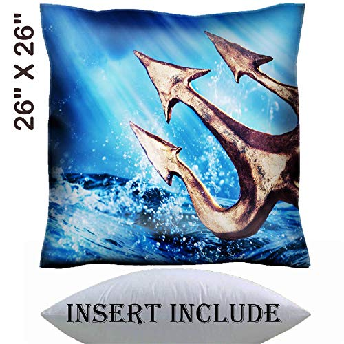 MSD 26x26 Throw Pillow Cover with Insert - Satin Polyester Pillow Case Decorative Euro Sham Cushion for Couch Bedroom Handmade Image 28047431 Poseidon s Trident Emerging from The sea Photo Composite
