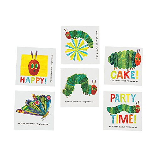 Fun Express - Very Hungry Caterpillar Tattoos (72 Pc) for Birthday - Apparel Accessories - Temporary Tattoos - Regular Tattoos - Birthday - 72 Pieces -