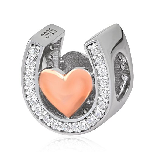 (Horseshoe Lucky Charms-Rose Gold Plated Love Charm Beads Cubic Zirconia Stones fit Women Pandora Bracelets)