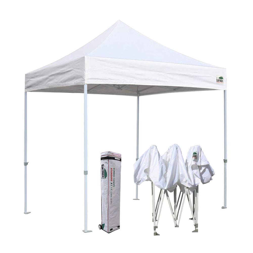 Eurmax 8x8 Feet Ez Pop up Canopy, Outdoor Canopies Instant Party Tent, Commercial Gazebo Bonus Roller Bag (White)