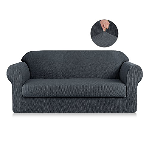 SyMax Jacquard Sofa Slipcovers 2-Piece Non Slip Sofa Seat Chair Covers Couch Furniture Protector for Children(Loveseat, Gray) ()