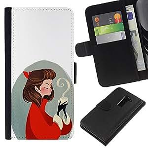 LECELL--Cuero de la tarjeta la carpeta del tirón Smartphone Slots Protección Holder For LG G2 D800 -- Amor del café --