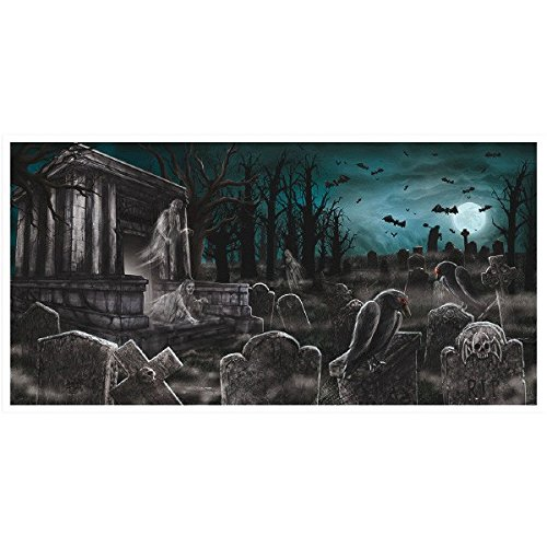 Creepy Cemetery Halloween Party Spooky Night Horizontal Banner Decoration, Plastic, 65