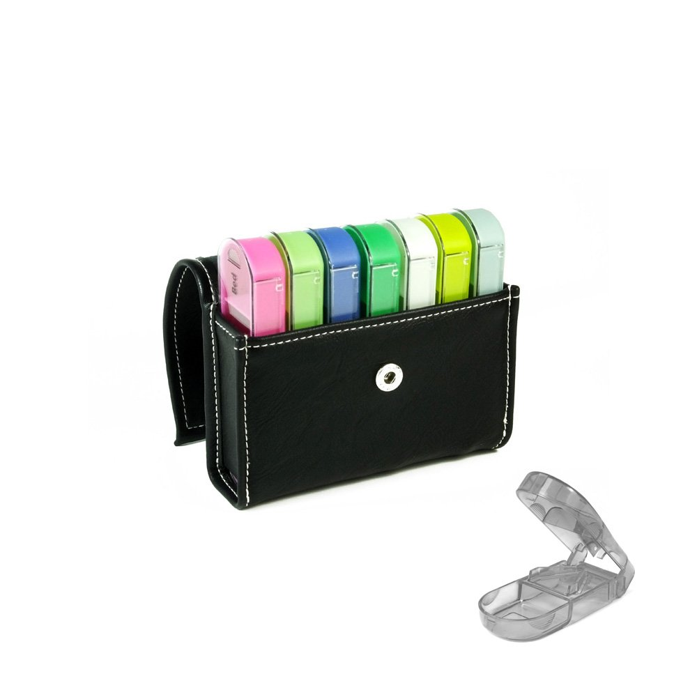 Pill Organizer Wallet Style Case, 7 daily compartments for 4 times of the day, Ideal for Medication, Vitamin, Supplement, Medicine, Perfect for travel, Ideal for purse W/ Pill Cutter included BS0342J