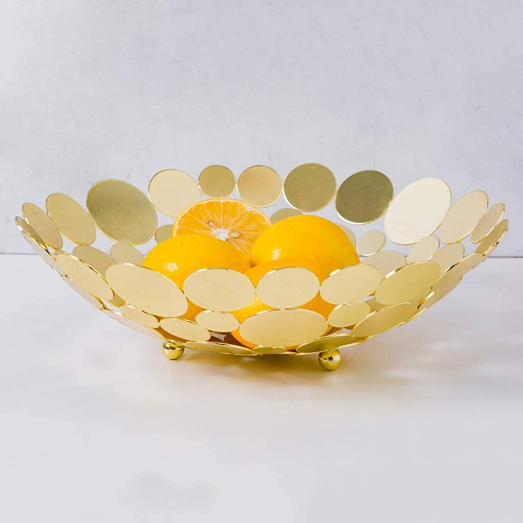 YXYH Metal Fruit bowl Hollow Fruit Plate Iron Art Tray for Kitchen Tableware Dining Table Decor color : White
