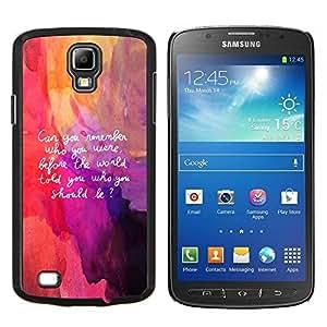 KLONGSHOP // Cubierta de piel con cierre a presión Shell trasero duro de goma Protección Caso - Cita Art Be Yourself Recuerde Vida Interior Auto - Samsung Galaxy S4 Active i9295 //