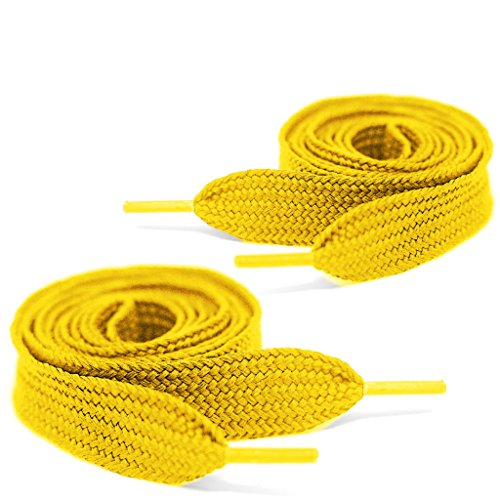(Mercury + Maia Extra Wide Shoe Laces - Flat Athletic Fat Shoelaces (1 Pair) (45, GOLD))