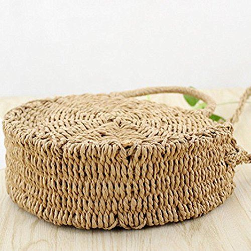 Bag Bohemia Weave Crossbody Handbags Shoulder Purse Beach Round Women Summer Khaki Straw Style and Bag 5wF7awq