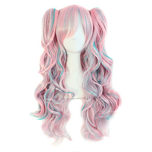 MapofBeauty Multi-color Lolita Long Curly Clip on Ponytails Cosplay Wig (Pink/Blue)