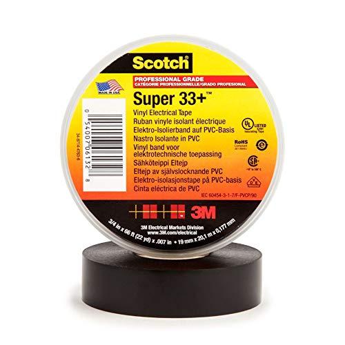 Scotch Super 33+ Vinyl Electrical Tape, 3/4 in x 66 ft, Black